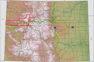Colorado Map showing Garfield County