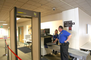 Security check at court entrance
