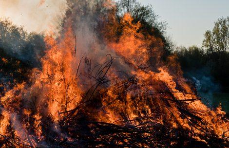 A slash pile is burning