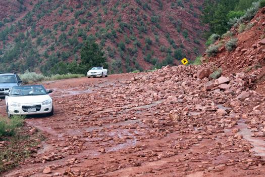 convertibles navigating mudslide