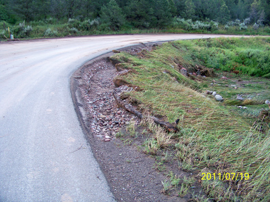 Flattened vegetation and rocks demonstrate the force of the harsh rain that fell Monday evening, cutting along the side of County Road 100.