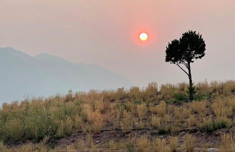 A smoky sunset as seen from New Castle, CO.