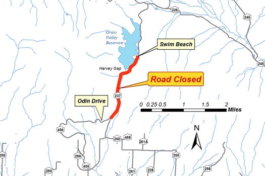 harvey gap road closure map