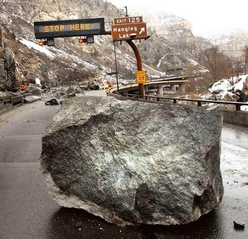 hazard on I70 in Glenwood Canyon